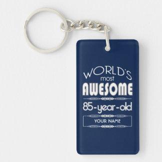 85th Birthday Worlds Best Fabulous Dark Blue Rectangular Acrylic Key Chains