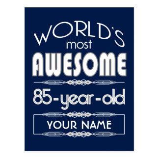 85th Birthday Worlds Best Fabulous Dark Blue Post Card