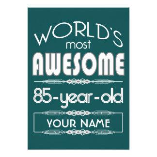 85th Birthday Worlds Best Fabulous Dark Green Invites