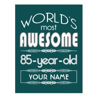 85th Birthday Worlds Best Fabulous Dark Green Post Card