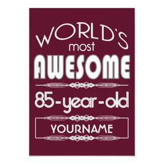 "85th Birthday Worlds Best Fabulous Dark Red 5"" X 7"" Invitation Card"