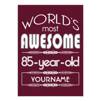 85th Birthday Worlds Best Fabulous Dark Red Custom Announcements