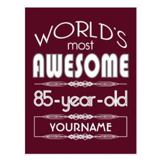 85th Birthday Worlds Best Fabulous Dark Red Post Card