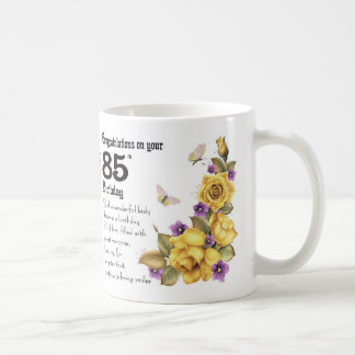 85th Birthday Yellow Rose And Butterfly Gift Mug, Coffee Mug