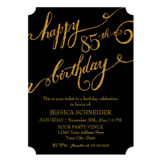 "85th, Eighty Fifth Birthday Party Celebration 5"" X 7"" Invitation Card"