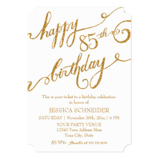 "85th, Eighty Fifth Birthday Party Celebration 5"" X 7"" Invitation Card"