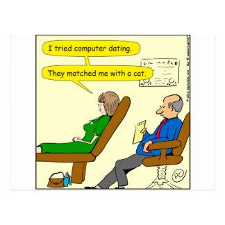 863 computer dating cartoon postcard