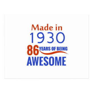 86 birthday design postcard