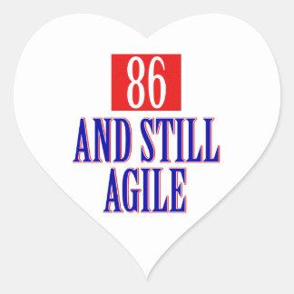 86 years birthday designs heart sticker