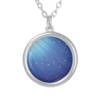 86Blue Background _rasterized Silver Plated Necklace