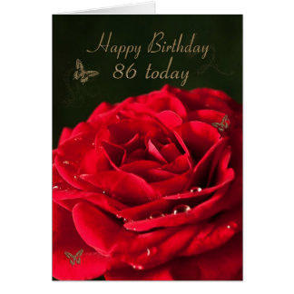 86th Birthday Card with a classic red rose