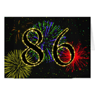 86th Birthday card with fireworks