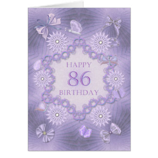 86th birthday card with lavender flowers