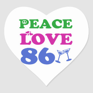 86th birthday designs heart sticker