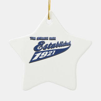 86th birthday designs Double-Sided star ceramic christmas ornament