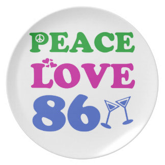 86th birthday designs plate