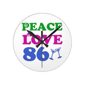 86th birthday designs round clock