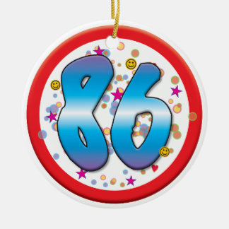 86th Birthday Round Ceramic Ornament