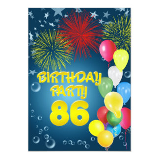 86th Birthday party Invitation with balloons