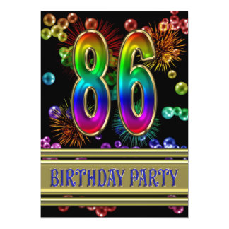 86th Birthday party Invitation with bubbles