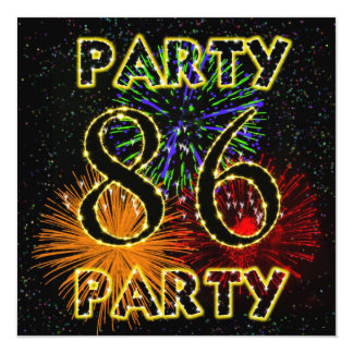"86th birthday party invitation with fireworks 5.25"" square invitation card"