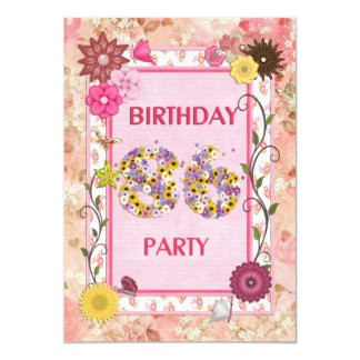 """86th birthday party invitation with floral frame 5"""" x 7"""" invitation card"""