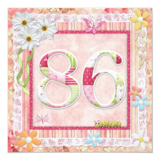 "86th birthday party scrapbooking style 5.25"" square invitation card"