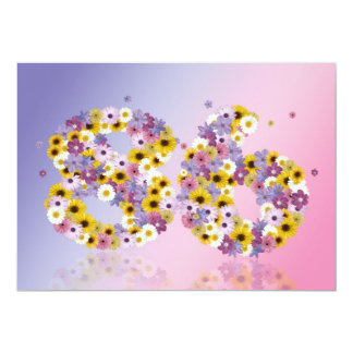 """86th Birthday party, with flowered letters 5"""" X 7"""" Invitation Card"""