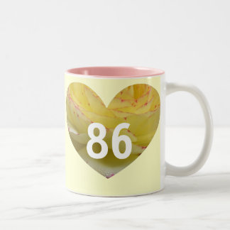 86th Birthday Pink and Cream Heart Mug