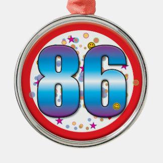 86th Birthday v2 Silver-Colored Round Ornament