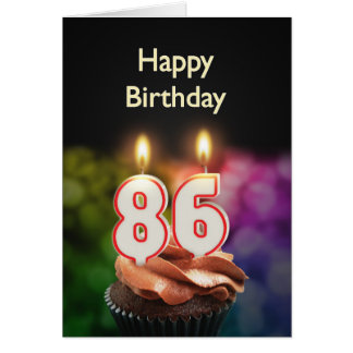 86th Birthday with cake and candles Greeting Card