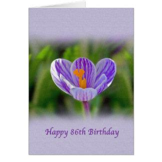 86th Birthday with Purple Crocus Greeting Card