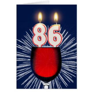 86th Birthday with wine and candles Card