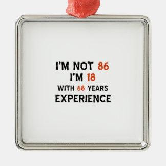 86th cool birthday designs Silver-Colored square ornament
