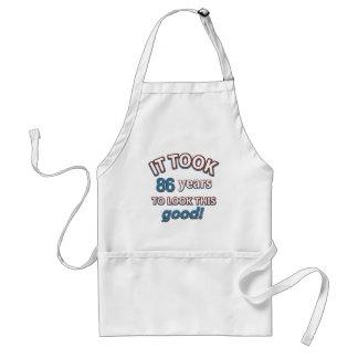 86th year birthday designs adult apron