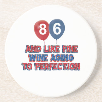86th year birthday designs beverage coasters