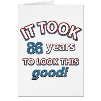86th year birthday designs greeting card