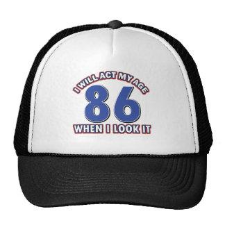 86th year birthday designs trucker hat
