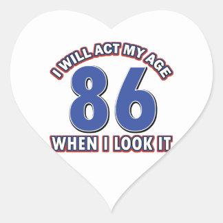 86th year birthday designs heart sticker