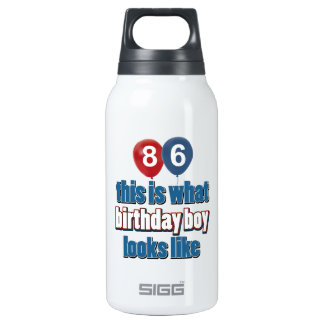 86th year birthday designs insulated water bottle
