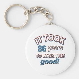 86th year birthday designs keychain