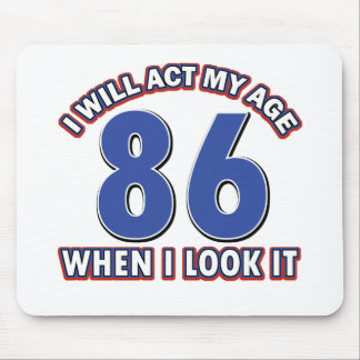 86th year birthday designs mouse pad