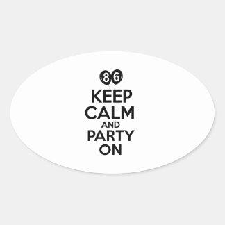 86th year birthday designs oval sticker