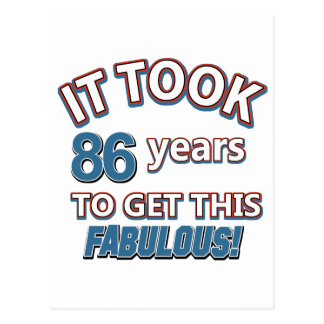 86th year birthday designs postcard