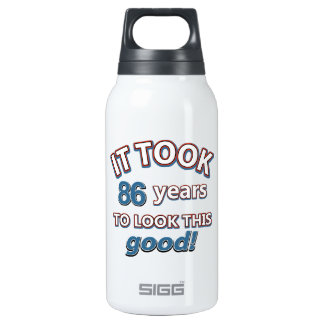 86th year birthday designs 10 oz insulated SIGG thermos water bottle