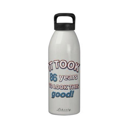 86th year birthday designs water bottle