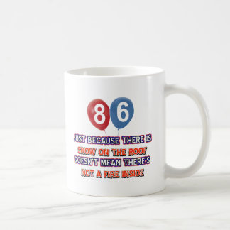 86th year old snow on the roof birthday designs mug