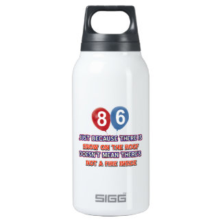 86th year old snow on the roof birthday designs 10 oz insulated SIGG thermos water bottle
