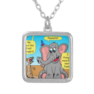 872 elephants and meerkat nose cartoon silver plated necklace
