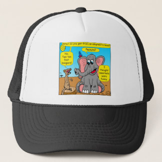 872 elephants and meerkat nose cartoon trucker hat